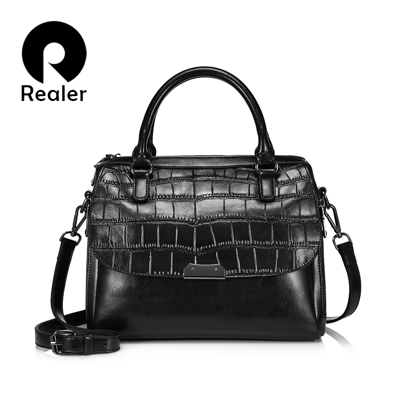 REALER Women Handbag Split Leather Tote Bag Female Crossbody Bags Ladies Alligator Prints Top-handle Bag Good Quality