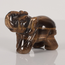 2 Inch Elephant Figurines Craft Carved Natural Stone Tiger Eye  Elephant Mini Animals Statue for  Home Decor Chakra Healing