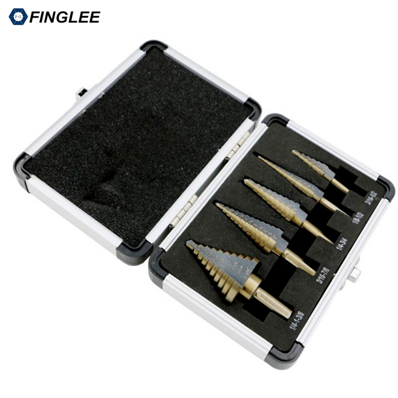 FINGLEE 5pcs Step Drill Bit Set Hss Cobalt Multiple Hole 50 Sizes SAE Step Drills with Aluminum carrying case 13pcs lot hss high speed steel cobalt drill bit set 1 5 6 5mm twist drills for thick iron and aluminum 3% co