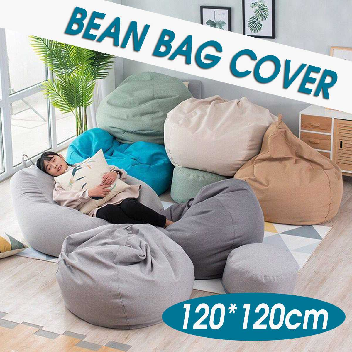120x120CM Large Bean Bag Sofa Chair Cover Lounger Ottoman Seat Living Room Furniture Beanbag Bed Pouf Puff Couch Lazy Tatami120x120CM Large Bean Bag Sofa Chair Cover Lounger Ottoman Seat Living Room Furniture Beanbag Bed Pouf Puff Couch Lazy Tatami
