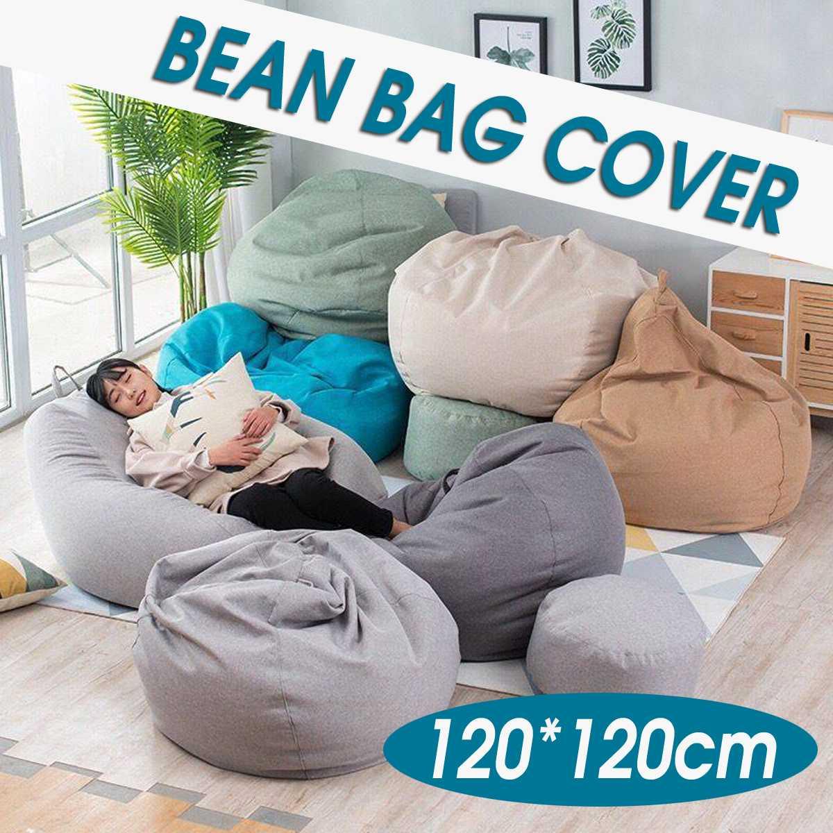 120x120cm Large Bean Bag Sofa Chair Cover Lounger Ottoman