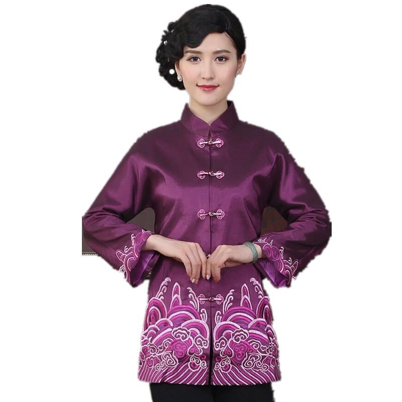 Высокая мода фиолетовое китайское традиционное Женское пальто с вышивкой куртки верхняя одежда Национальный женский костюм куртка M L XL XXL ...