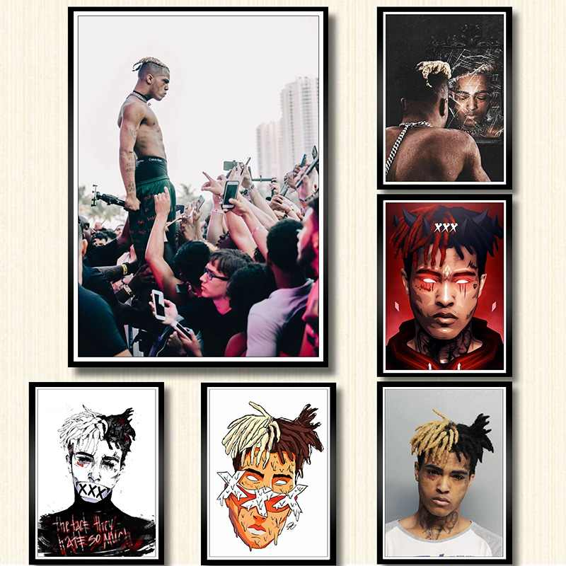 XXXTentacion Rap Hip Hop Music Star Singer Art Poster white coated paper print Painting For Home Decor Wall art poster