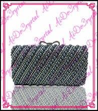 Aidocrystal dunkelblau kristall steinen gepflastert handtasche und absatzschuhe set für party