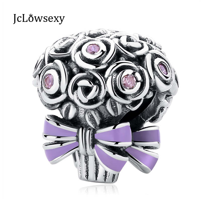 094f4c712 Authentic 925 Sterling Silver Bead Purple Enamel Celebration Bouquet Charm  Fit Original Pandora Bracelets DIY Charms Jewelry-in Beads from Jewelry ...