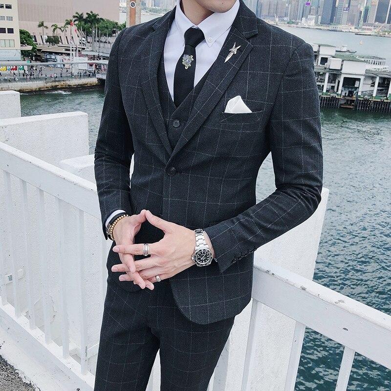 Plaid Smoking Hiver 3 Hommes Slim Pantalon Vente Gilet gris De Marque  Nouvelle Formelle Costumes D affaires ... 061be3ff2d0