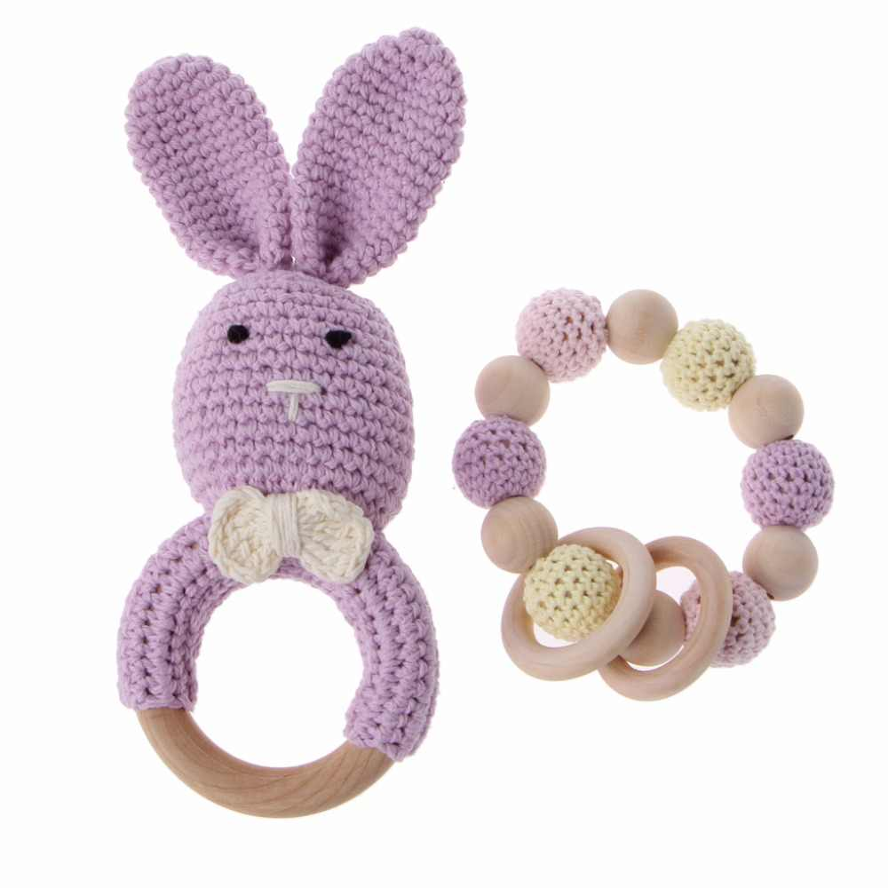 2Pcs/Set Baby Wooden Teether Bracelet Crochet Bunny Teething Ring Chewing Toy