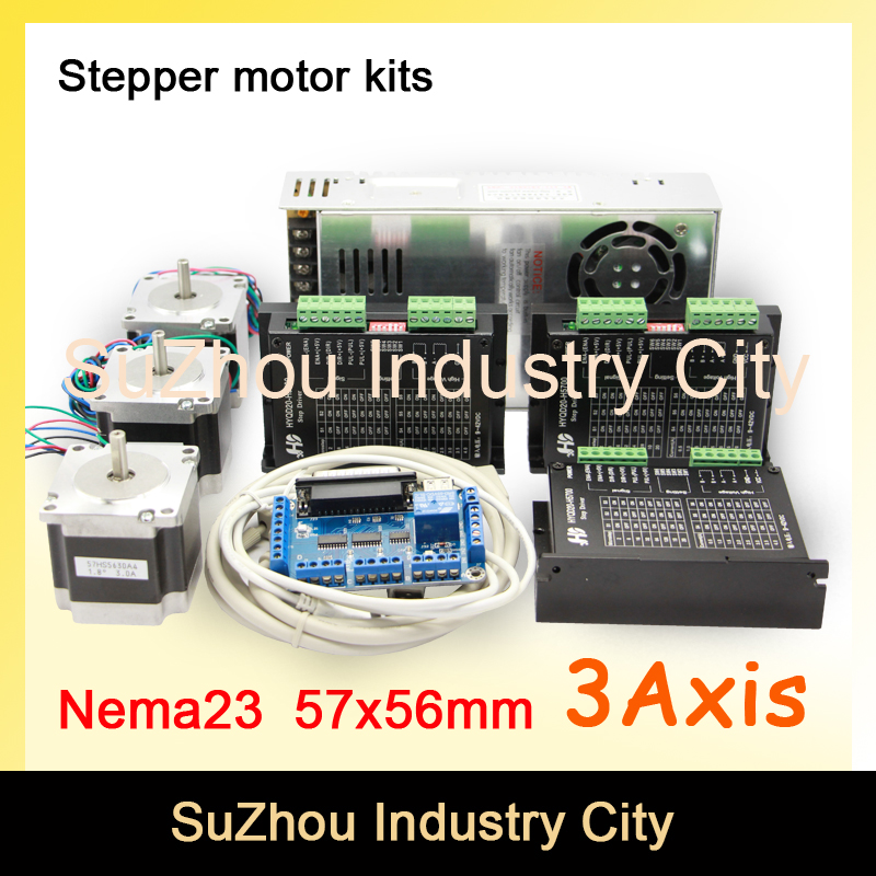 3Axis CNC stepper motor control kits name23 stepping motor + Driver 9-42VDC,4A+Power supply switch 400w 36v+5axis breakout board dc36v 350w 9 7a switching power supply 115v 230v to stepper motor diy cnc router