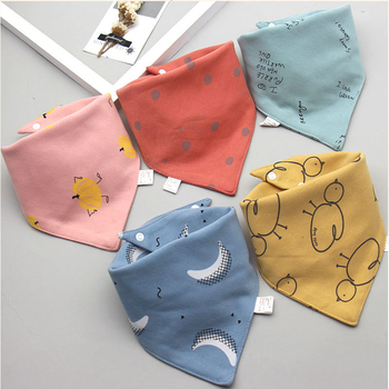 Baby Bibs Triangle Double Cotton Bibs 5 pieces/lot Cartoon Print Saliva Towel Baby Boys Girls Feeding Apron Cotton Bandana Bibs 1