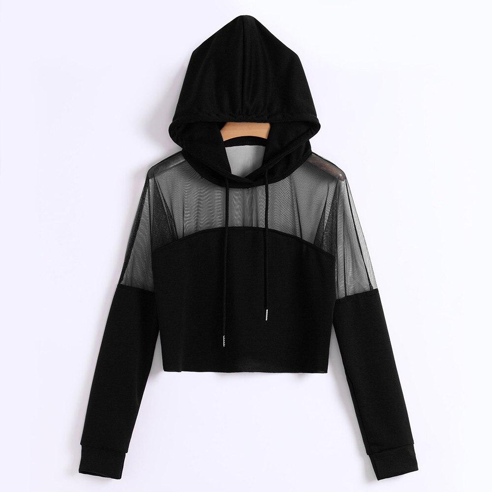 Women Harajuku Sweatshirt Hoodies Mesh Patchwork Autumn 2020 Hip-Pop Streetwear  Hoodie Clothes Cropped Tumblr Moletom Feminino