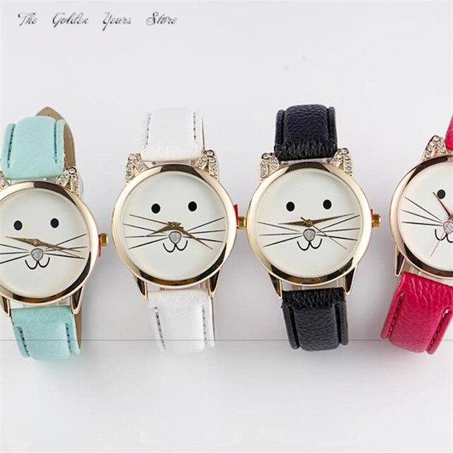 98e008593c08d Nova Moda 2018 Relogio feminino Reloj Mujer Mulheres relógio senhora Neutro  Diamante Lindo Gatos Rosto Falso