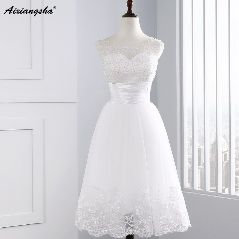 Buy 2017 cute cheap pearl white short for Cute short white wedding dresses