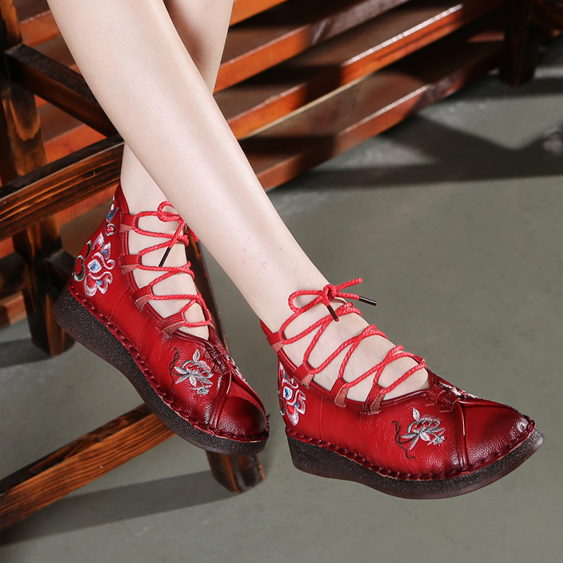 Femmes gladiateur bottes en cuir talons plats chaussures broderie bottines femmes en cuir souple bottes pour femmes à la main chaussures à lacets