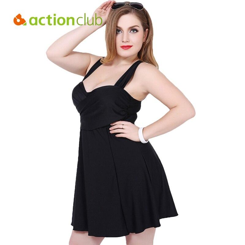 Actionclub Swimming Suit For Women 2016 Plus Size Swimsuit Bodysuit Bathing Suits Swimdress Skirt Swimwear maillot de bain WS496