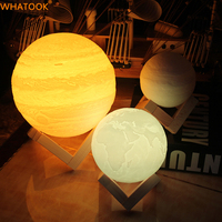 Rechargeable 3D Print Earth Lamp Moon Night Lights Abajur LED Touch Sensor Tap Earth Light for Bedroom Home Decor Creative Gifts