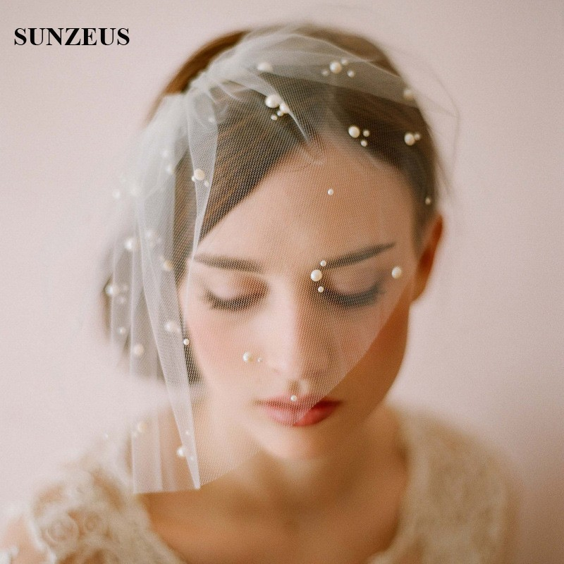 Elegant Tulle Pearls Bridal Hats Face Veil Hair Accessories ...