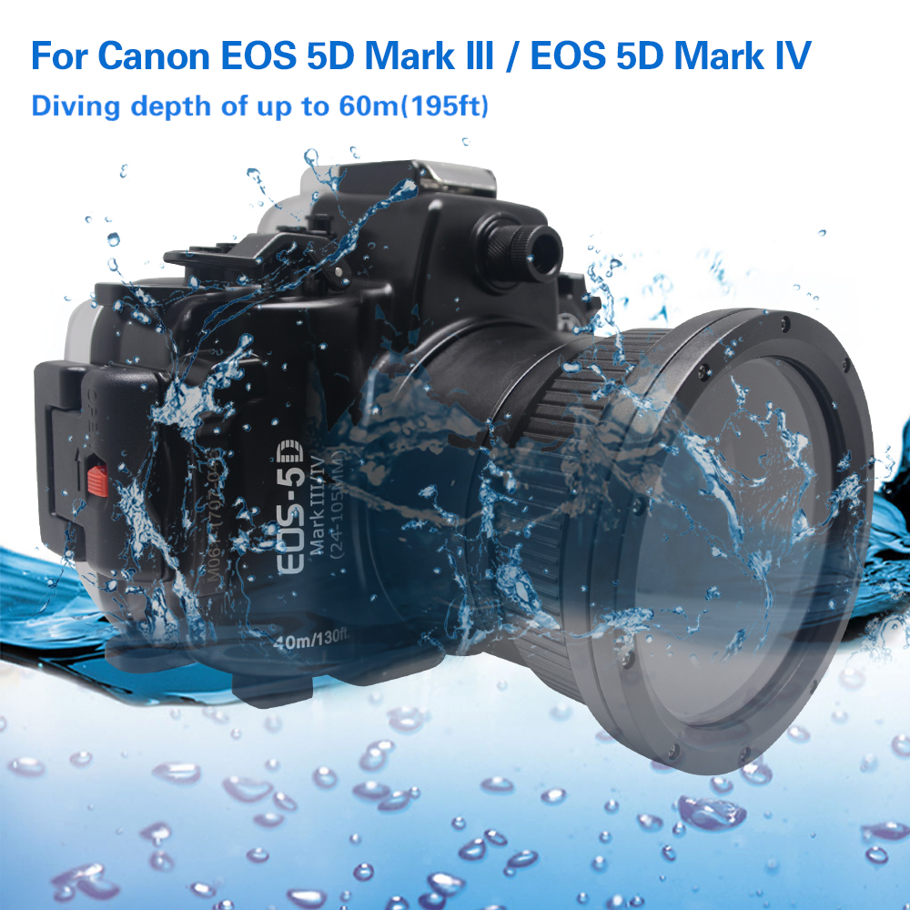 Mcoplus 40m 130ft Diving Camera Waterproof Housing Case for Canon EOS 5D Mark III IV meikon 40m 130ft waterproof case for canon eos m3 22mm port 18 55mm port underwater camera housing for eos mark iii mark 3