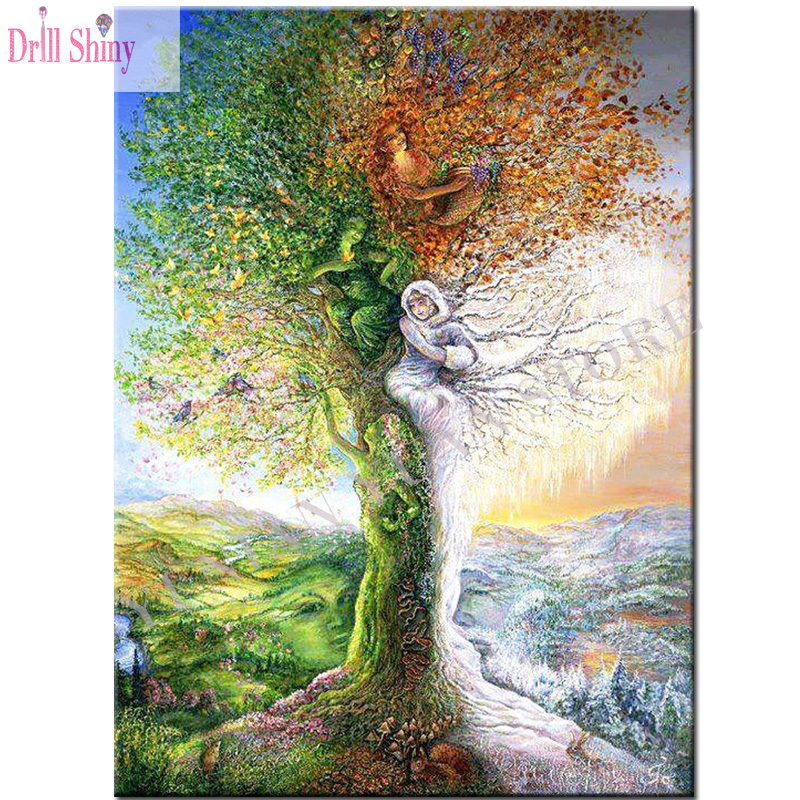 Landscape Diamond Embroidery DIY Diamond Painting Tree Fairy Homes 5D Cross Stitch Diamond Mosaic Home Decor Wall Sticker Decor