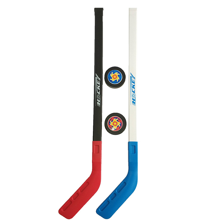 4 stks / set Kids Kinderen Winter Ijshockey Stick Training Tools Plastic 2x Sticks 2xBall Wintersport Speelgoed past 3-6 jaar