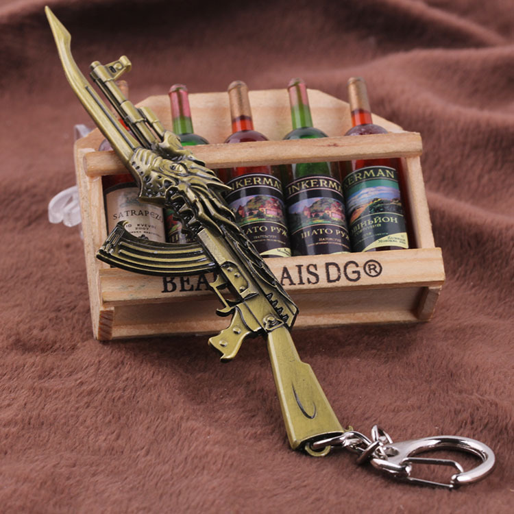 US $0 73 25% OFF|2019 PUBG Hot Online Games Cross Fire AK47 Gun Mold  Keychains Wholesale Cool Metal Weapon Key Chains Men Jewelry Pendants-in  Key