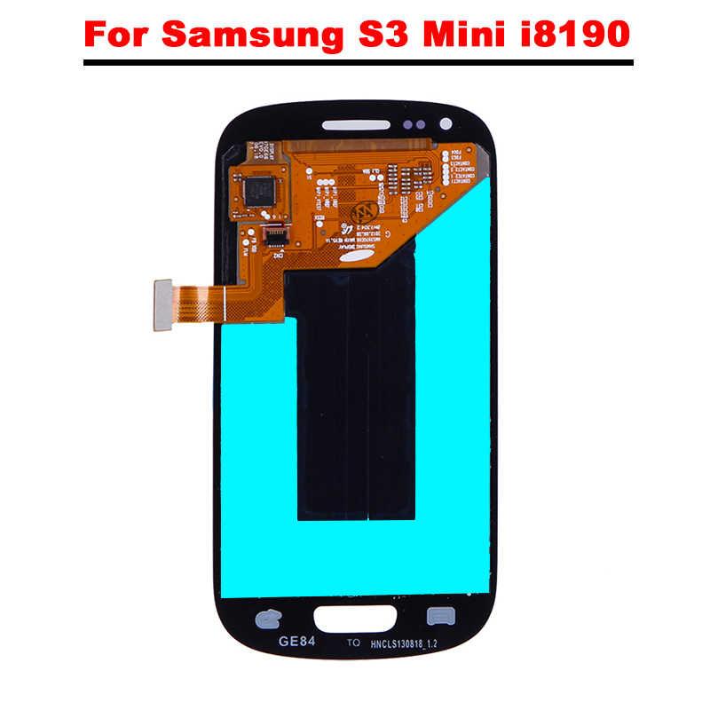 4.0 ''شاشة الكريستال السائل لسامسونج غالاكسي S3 البسيطة i8190 GT-i8190 i8195 i8200 شاشة الكريستال السائل + مجموعة المحولات الرقمية لشاشة تعمل بلمس