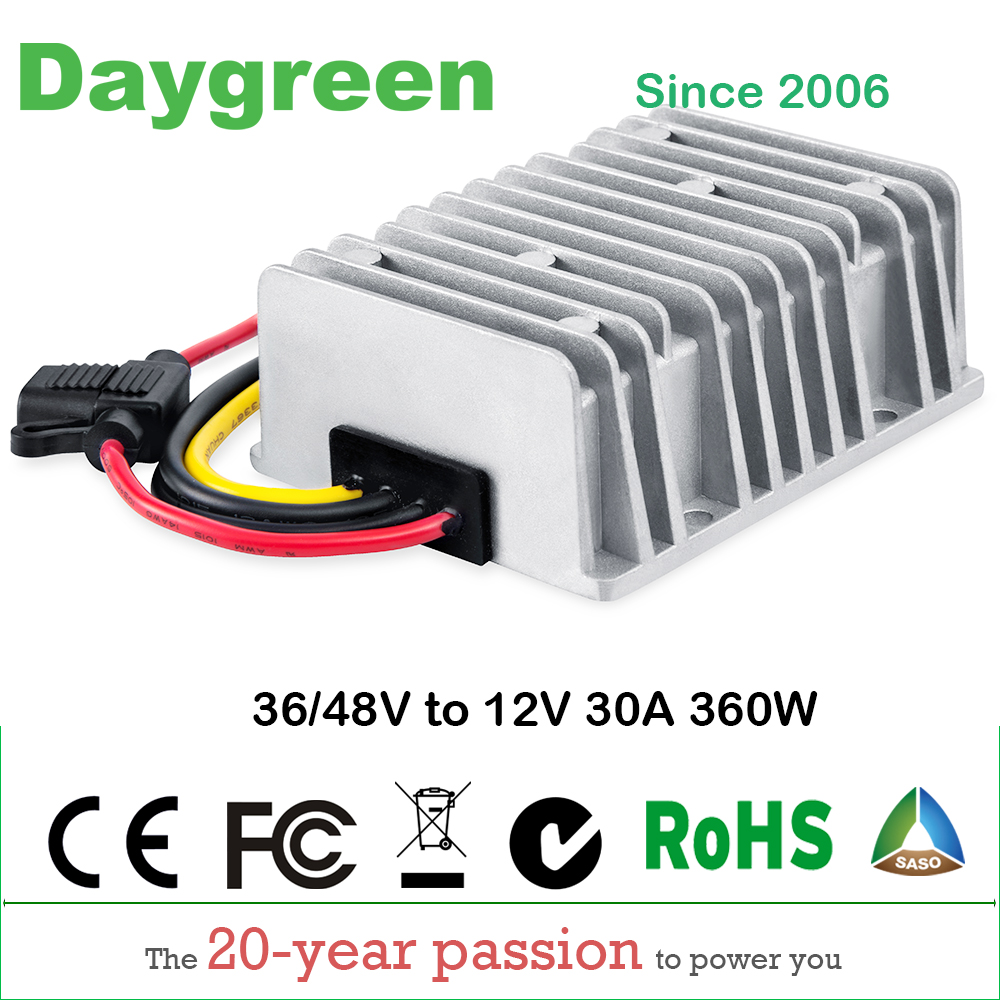 48V to 12V 30A 360W Golf Cart Voltage Reducer DC DC Step Down Converter CE RoHS Certificated Waterproof 48VDC to 12VDC 30AMP 2x 48v to 12v 30a 48vdc to 12vdc 30amp 360w voltage reducer dc dc step down converter for golf cart electric motorcycle scooter