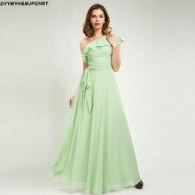 Sage สีเขียวชุดเพื่อนเจ้าสาวยาวชั้นที่มีเสน่ห์นัวเนียหนึ่งไหล่แม่บ้าน of honor ชุด vestidos