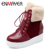 ENMAYER Big Size PU And Nubuck Leather Ankle Fashion Round Toe Height Increasing Boots For Women