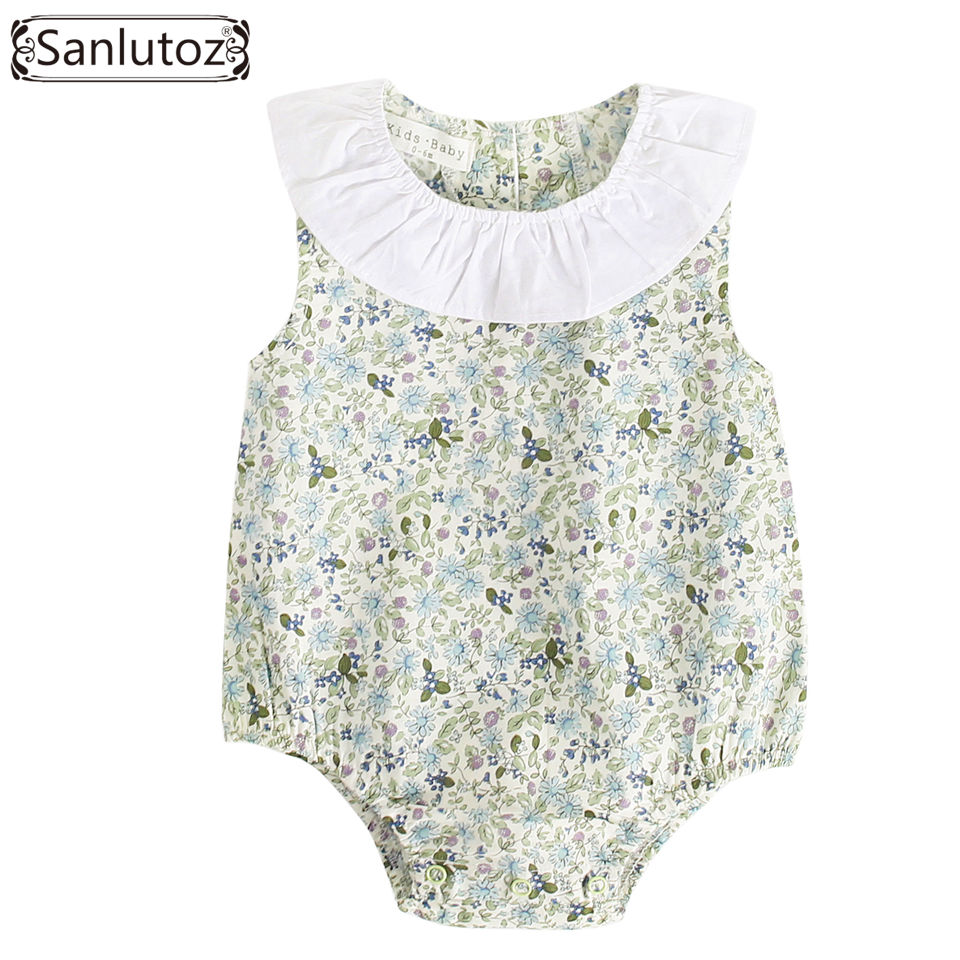 Sanlutoz Baby Girl Clothes Summer Baby Bodysuit for Infant Toddler Cotton Ruffle Flower Outfit Jumpsuit New Born shoulder cut plus size flower blouse