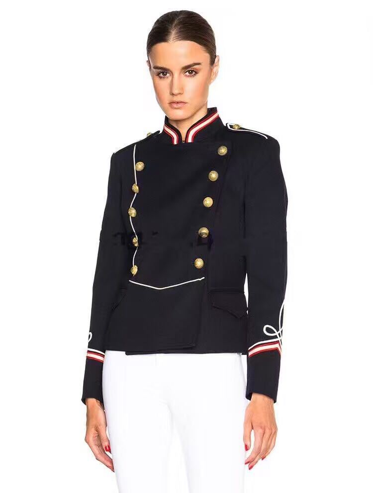 Runway Luxury Fashion Woman New Military Style Jacket Stand Collar Front Gold Buttoned Long
