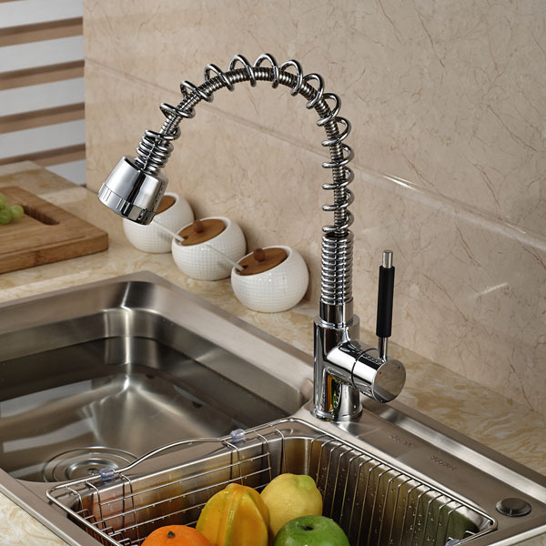 Chrome Brass Spring Kitchen Sink Faucet Deck Mount Pull Out Dual Sprayer Nozzle Hot Cold Mixer Water Tap chrome kitchen sink faucet solid brass spring two spouts deck mount kitchen mixer tap