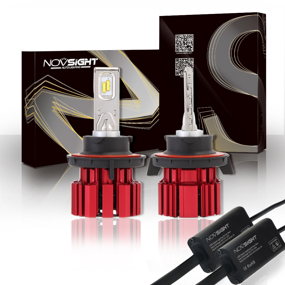 NOVSIGHT H13 Car Led Headlights Kit 80W 13600LM High Power Auto Hi/Lo Beam Bulb 12V 6000K Automobile Fog Lights Headlamp Light
