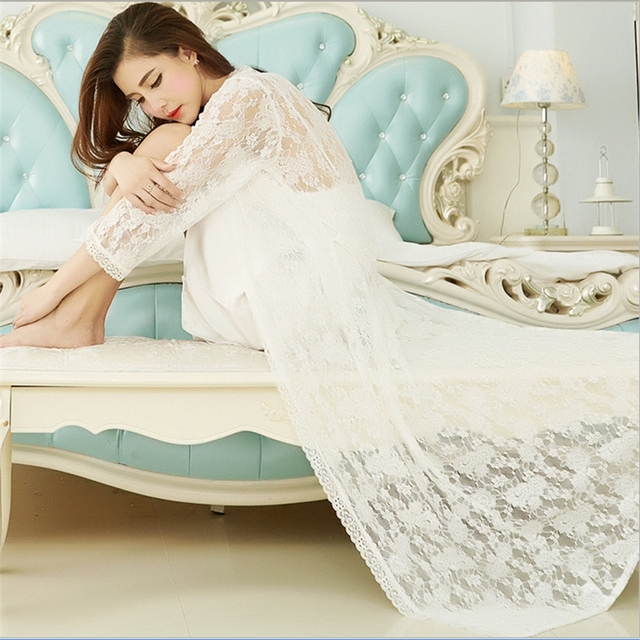 New Lace nightgown pajamas Sexy women lace Deep V-neck sling Bow Mini skirt Transparent silk robe Set