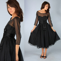 Western Style Bateau Neck A Line Modest Black Tea Length Bridesmaid Dress With Sleeves FN003