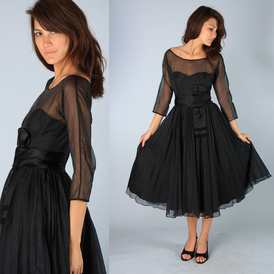 Compare prices on taffeta bridesmaid dresses online shoppingbuy western style sheer neckline a line modest black tea length bridesmaid dress with sleeves for weddings ombrellifo Images