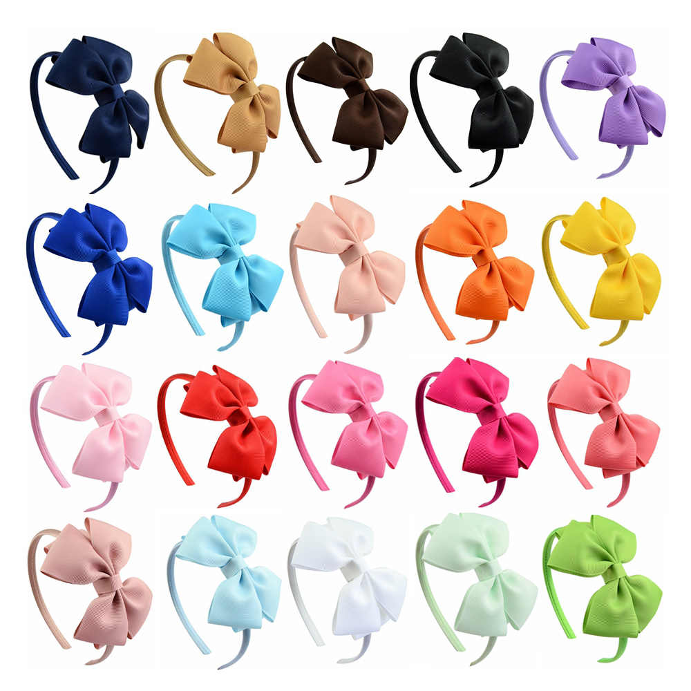 20pcs/lot High Quality Solid Hairbands Princess Hair Accessories Plastic Hairband Girl Hairbands With Bows Hair Accessories 674