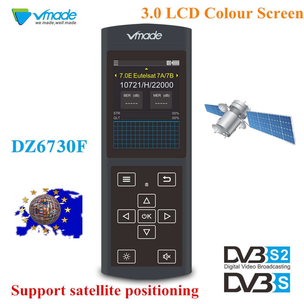 Vmade Newest Original DVB S/S2 Black Satellite Finder 3.0 inch LCD Display Support MPEG 2/4 1080p DVB S2 Sat Finder for Germany-in Satellite TV Receiver from Consumer Electronics