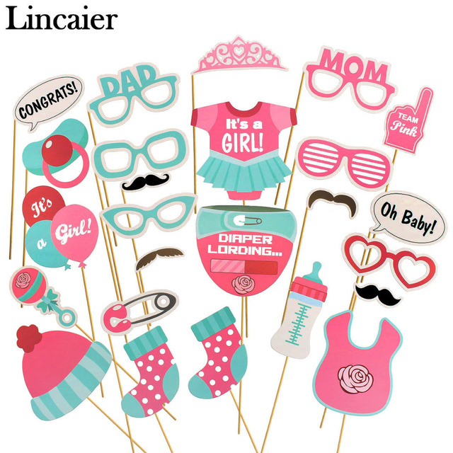 Lincaier 25 Pieces Baby Shower Photo Booth Props Its A Boy Girl Favors  Party Decorations Supplies