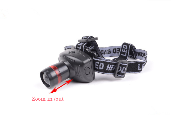 High quality Adjustable 300 Lumens Headlight 3 Modes LED zoom Head light led Headlamp by3*AAA free shipping