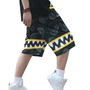 Длинные повседневные мужские шорты, хип-хоп, размера плюс, мешковатые, летние, для бега, Харадзюку, модные, Акула, пляжные шорты для мужчин S6T1