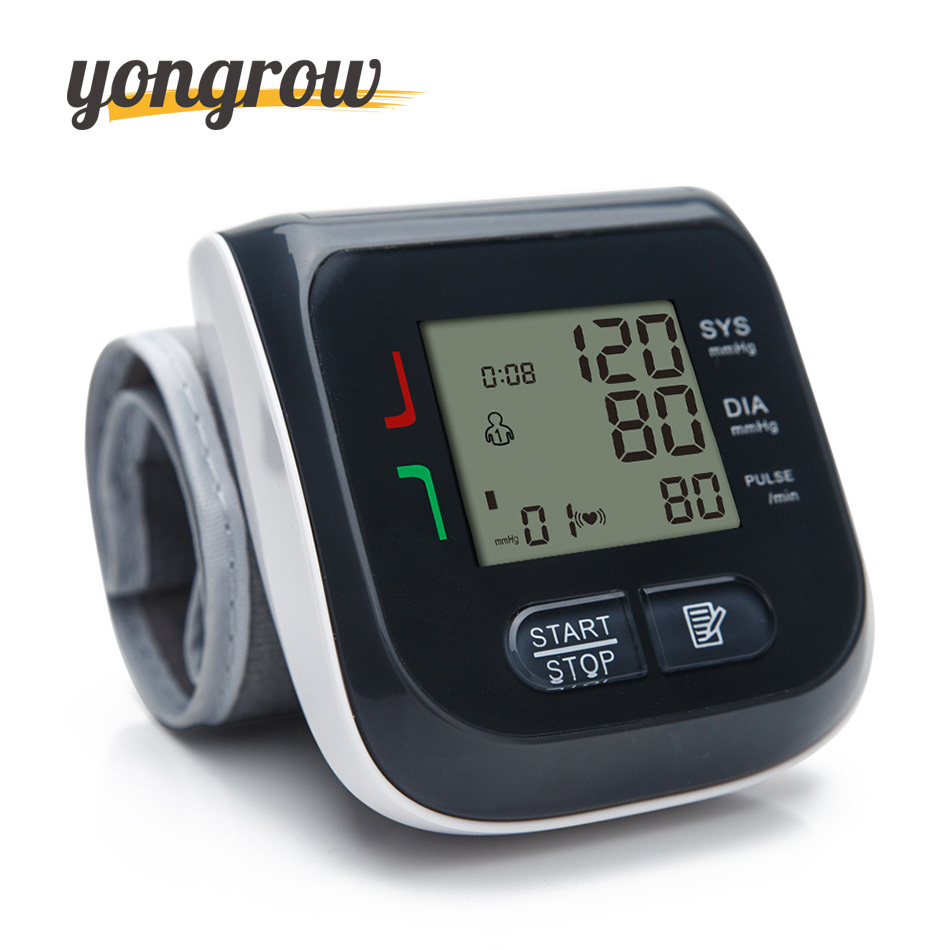 Yongrow Automatic Wrist Blood Pressure Monitor Digital LCD Wrist Cuff Blood Pressure Meter Esfingomanometro Tonometer digital wrist blood pressure monitor portable automatic sphygmomanometer blood pressure meter and lcd digital finger oximeter