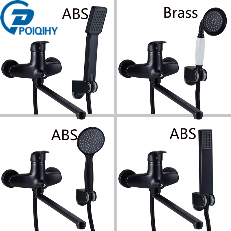 POIQIHY Bathtub Faucets Long Spout Tub Faucet Hand Shower Bathroom Faucet Wall Mounted Mixer Tap with Bracket Bathroom Set