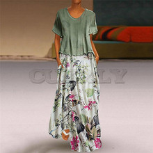 Cuerly Summer Women Vintage Boho Print Patchwork O-Neck Two Pieces Plus Size 5Xl Pocket Maxi Dress Casual Long Vestidos