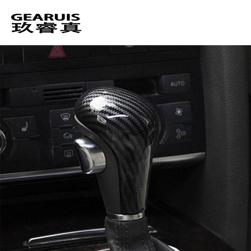 Diseño de coche para Audi A4 B7 A5 A6 C6 Q5 Q7 velocidad automática del engranaje de cambio de la cabeza de fibra de carbono cubre pegatinas accesorios interiores