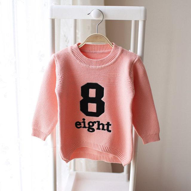 2-7años niñas suéteres marca phoebee kids pink beige carta número 8 rebeca del bebé ropa de niños ropa Suéteres cardigan