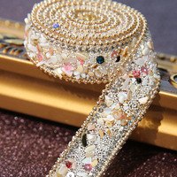 2017 New Fashion 50cm Hot Fix Crystal Rhinestone Applique DIY Wedding Dress Hat Bag Shoes Iron