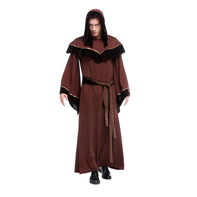 witch male costume halloween gothic cospaly priests arrival religious gown role european playing clothes belt costumes mouse zoom mens