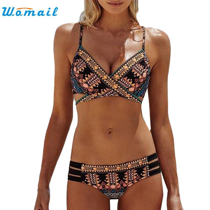 WOMAIL 2017 Sexy Print Frauen Bademode Badeanzug Push-Up Bikinis Sets Sommer Bikini Beachwear Für Frau Mädchen Geschenk Größe S-XL 1 STÜCK