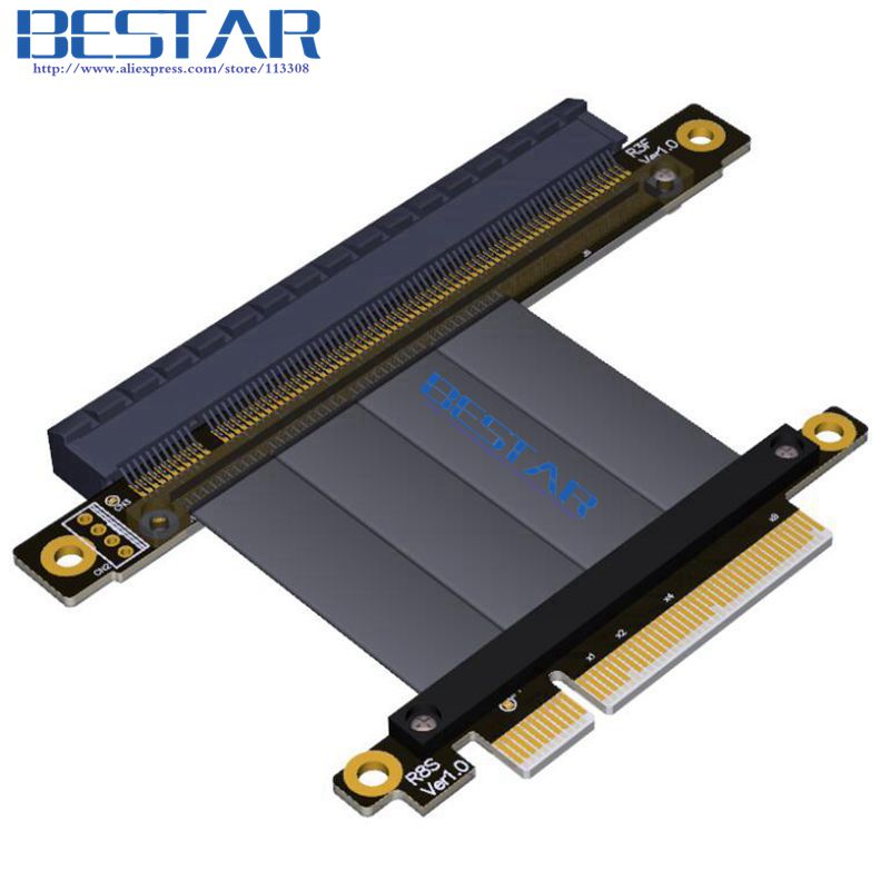 Gen3.0 PCIe 8x to PCIe 16x Graphics card extension Riser Cable 1ft 2ft Elbow Design Right Angle 64G/bps PCI-E X8 X16 PCI-Express riser pci e 4x male to pcie 16x female pci express graphics card extension riser cable pci e gen3 0 4x 16x extender right