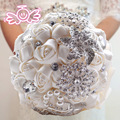 Crystal Brooch Bridal Bouquet Fabric Artificial Rose Durable Wedding Flower Bridesmaid Hand Flower